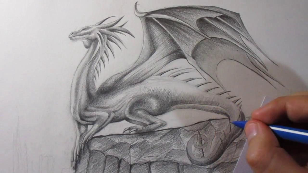 Cómo Dibujar Un Dragón A Lápiz Paso A Paso Youtube