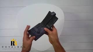 Кожаное портмоне чёрного цвета / Tiding Bag / Royalbag / обзор A7-258A