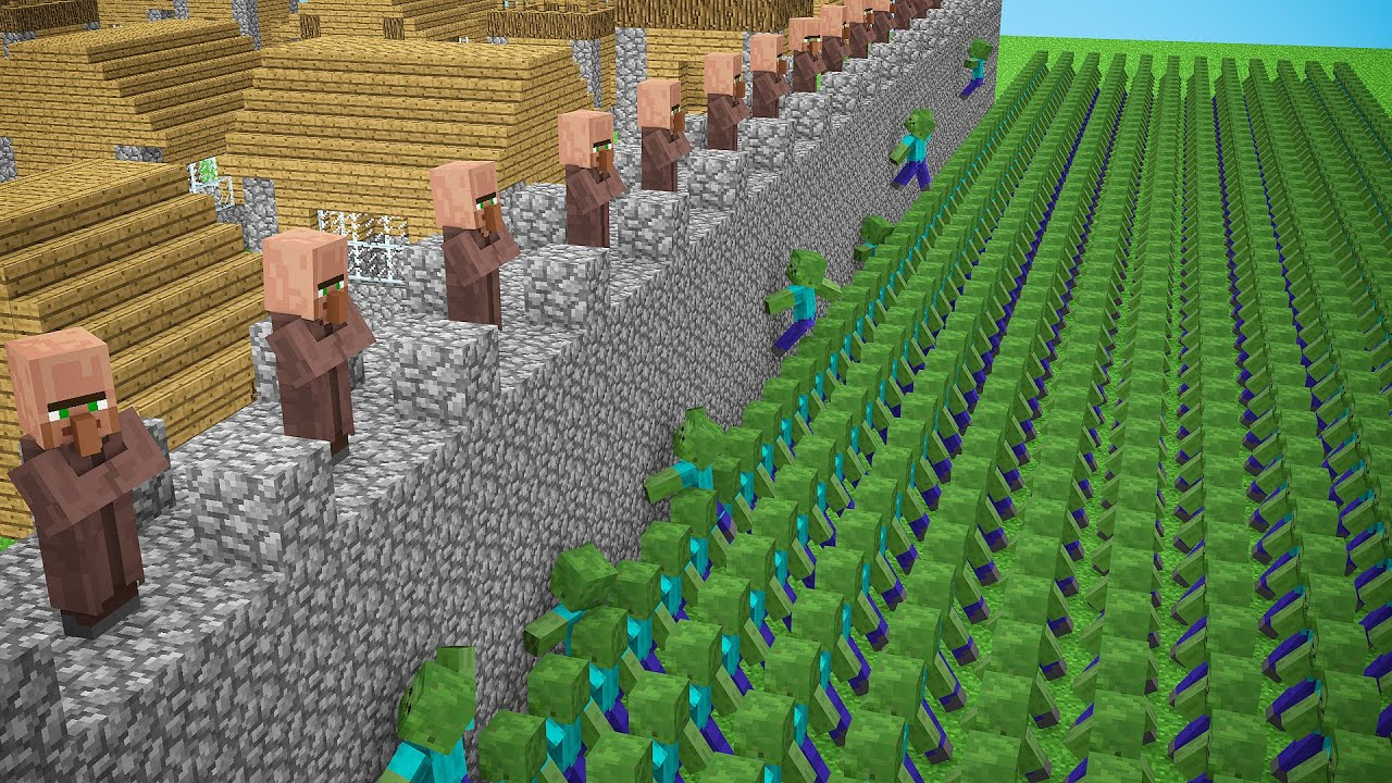 HOW to PLAY as a ZOMBIE in Minecraft ? Zombie Apocalypse vs Village! CHALLENGE / Animation