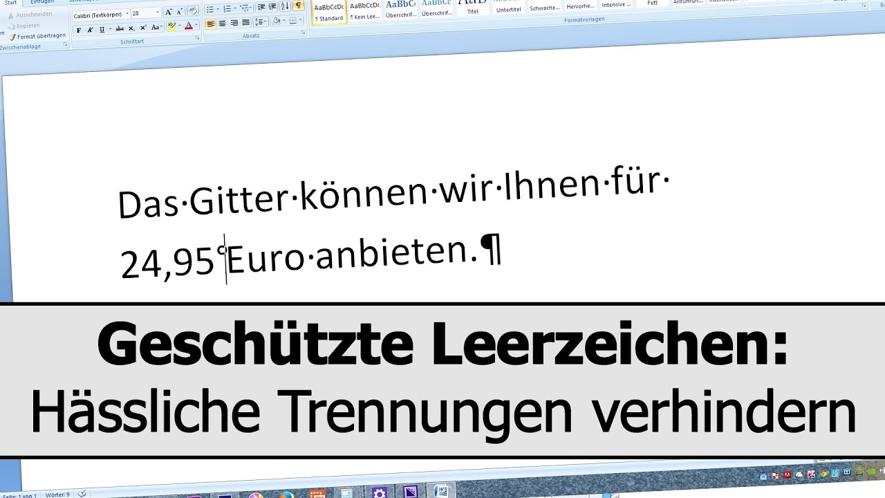word halbes leerzeichen