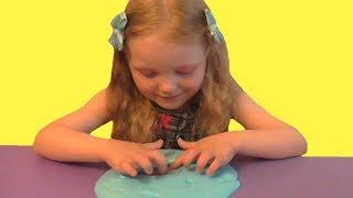 Как сделать лизуна из клея пва. DIY Slime. Большой голубой лизун. Слайм с блестками.
