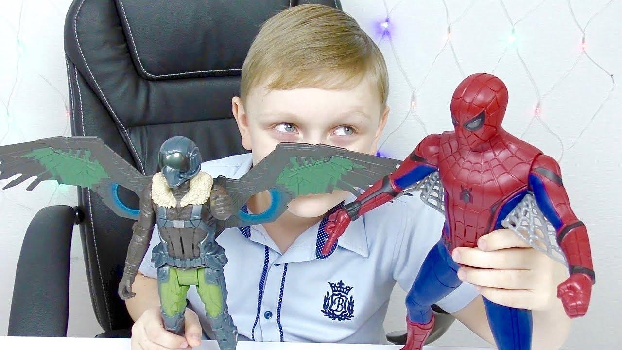 Человек Паук и крылья Стервятника Видео для детей про супергероев Игрушки из мультика Для мальчиков