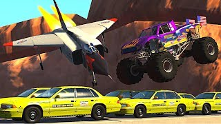 BeamNG.drive - Monster Truck stunts, jumps, crashes, crushing cars, fails #8