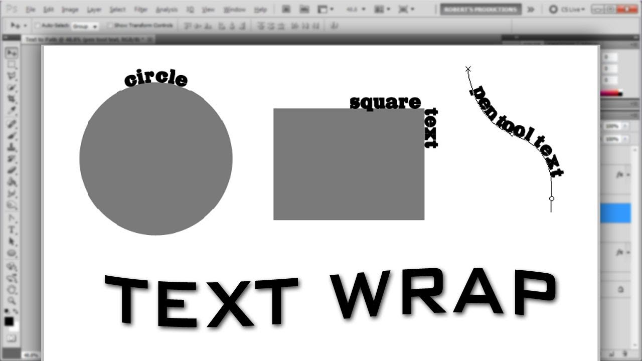 To how wrap photoshop in text