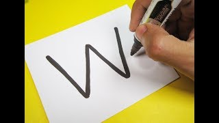 """How to turn Letter """"W"""" into a Cartoon DIAMOND ! Fun with Alphabets Drawing for kids"""