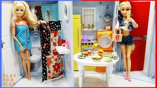 Barbie bedroom morning routine 👡 shower and breakfast in kitchen with Rapunzel