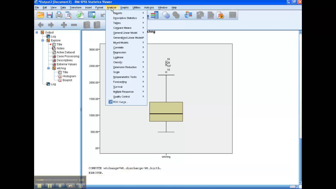 Spss How Topute Weight Change