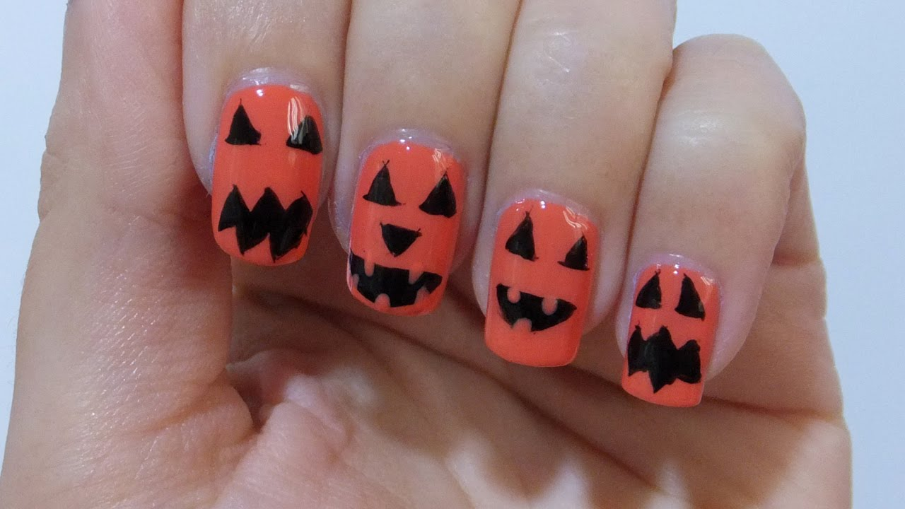 Jack O Lantern Halloween Nail Art Tutorial - YouTube