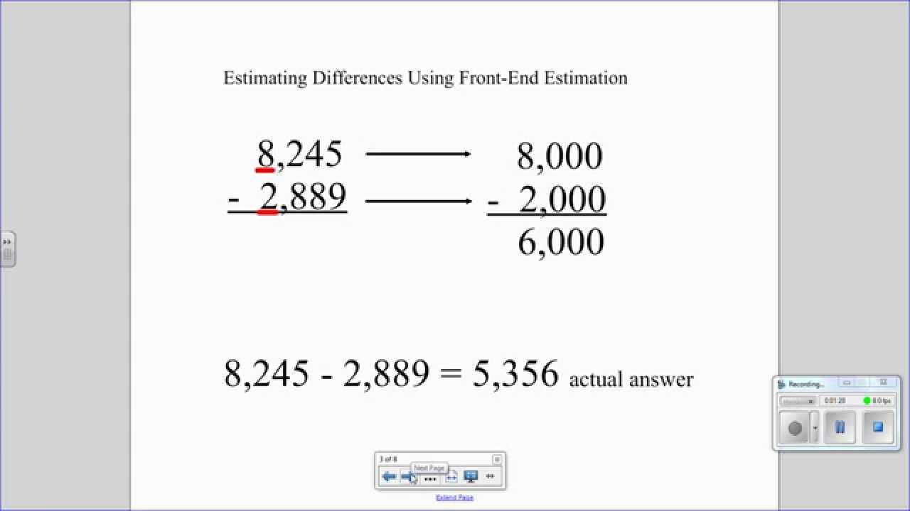 worksheet Estimating Sums estimating sums and differences with front end estimation youtube estimation