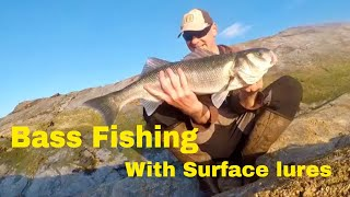 UK Bass fishing with Surface Lures- biggest bass of 2018