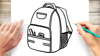 how To Draw Backpack Easy