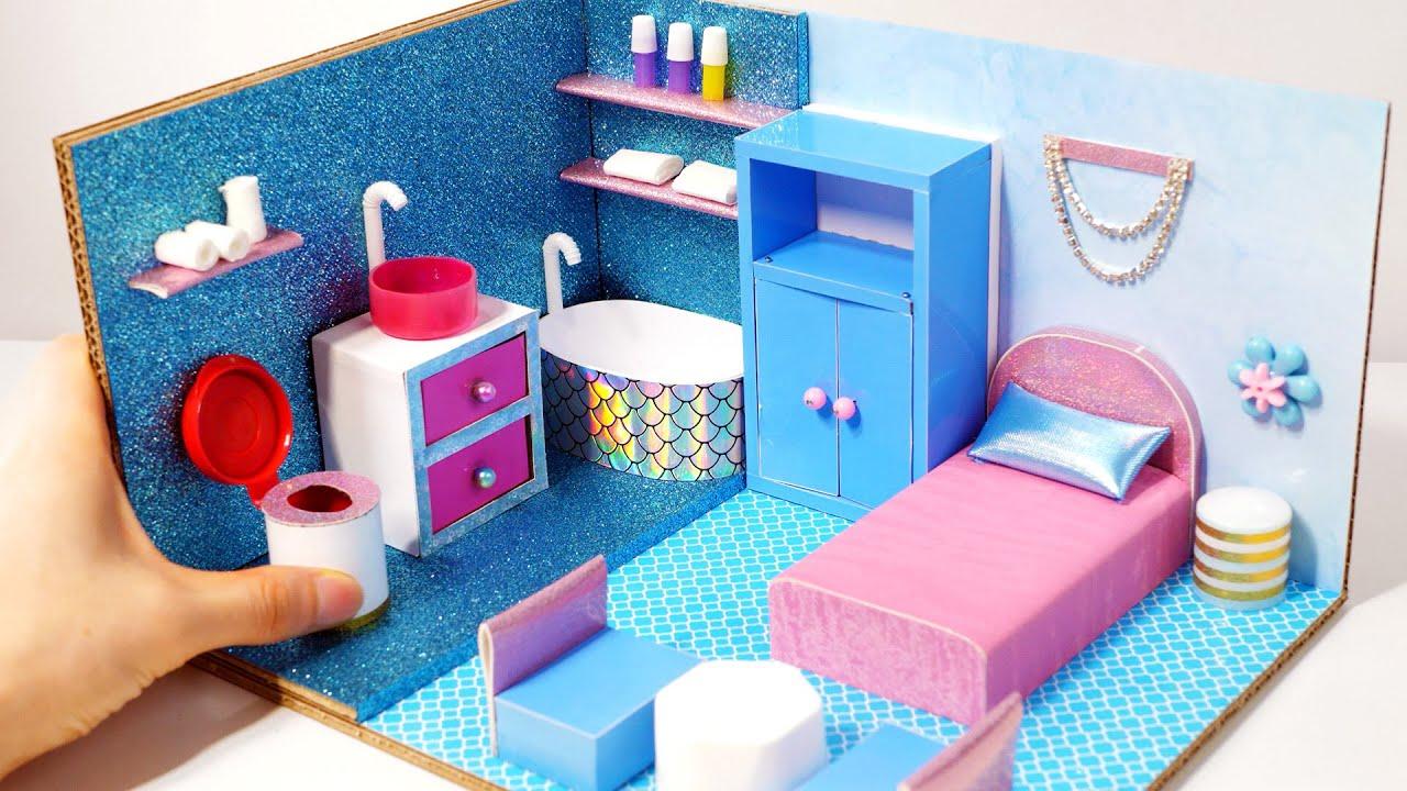 DIY Miniature Cardboard House #33  Blue VS Pink bathroom and bedroom