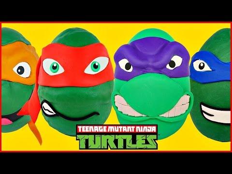 TMNT Giant Play Doh Surprise Eggs Opening Teenage Mutant Ninja Turtles Episodes Compilation Video