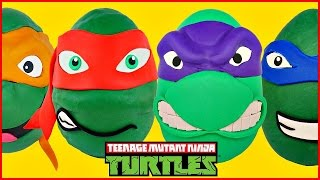 TMNT Giant Play Doh Surprise Eggs Opening Teenage Mutant Ninja Turtles Compilation Video