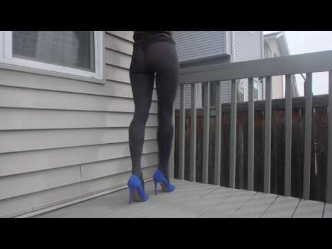 Wearing Aurelia pantyhose by Fiore - thick 60 den microfiber tights in dark grey