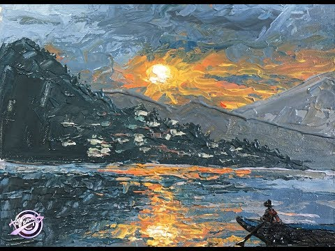 Sunset in Fewa Lake | Knife Painting | Art Candy