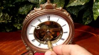 Intage Old Antique French Brevete Mantle Clock & Swing Pendulum 1880s See Video