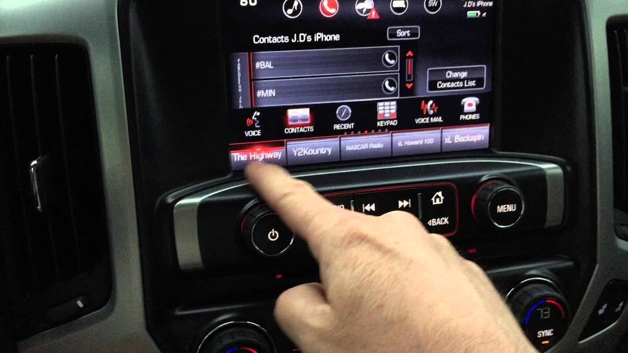 Gmc Intellilink Phone Contact On Radio Preset Youtube