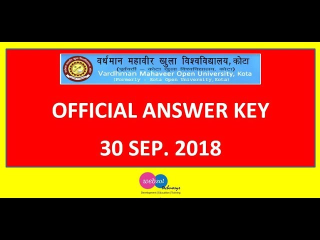 RKCL RSCIT Official Answer Key Exam 30 Sep 2018