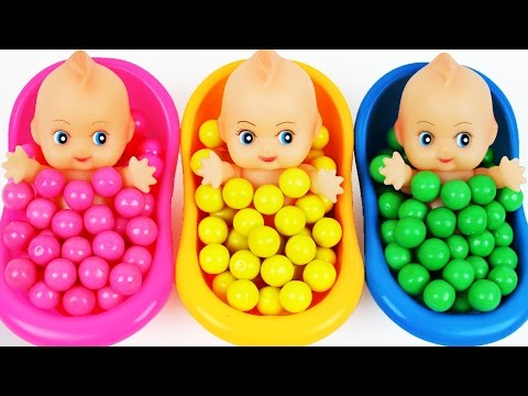 Thumbnail: Learn Colors Surprise Toys Baby Doll Bubble Gum Bath Time Finger Family Song Nursery Rhymes For Kids