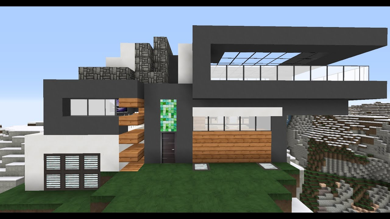 Como hacer una casa moderna en minecraft survival youtube for Casas modernas para construir