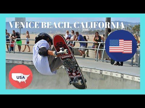 The Venice Beach famous boardwalk on a Sunday morning, California (USA)