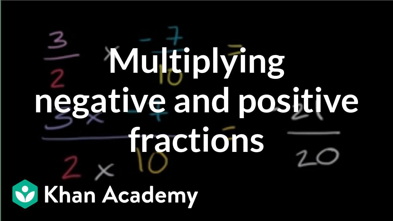 medium resolution of Multiplying positive and negative fractions (video)   Khan Academy