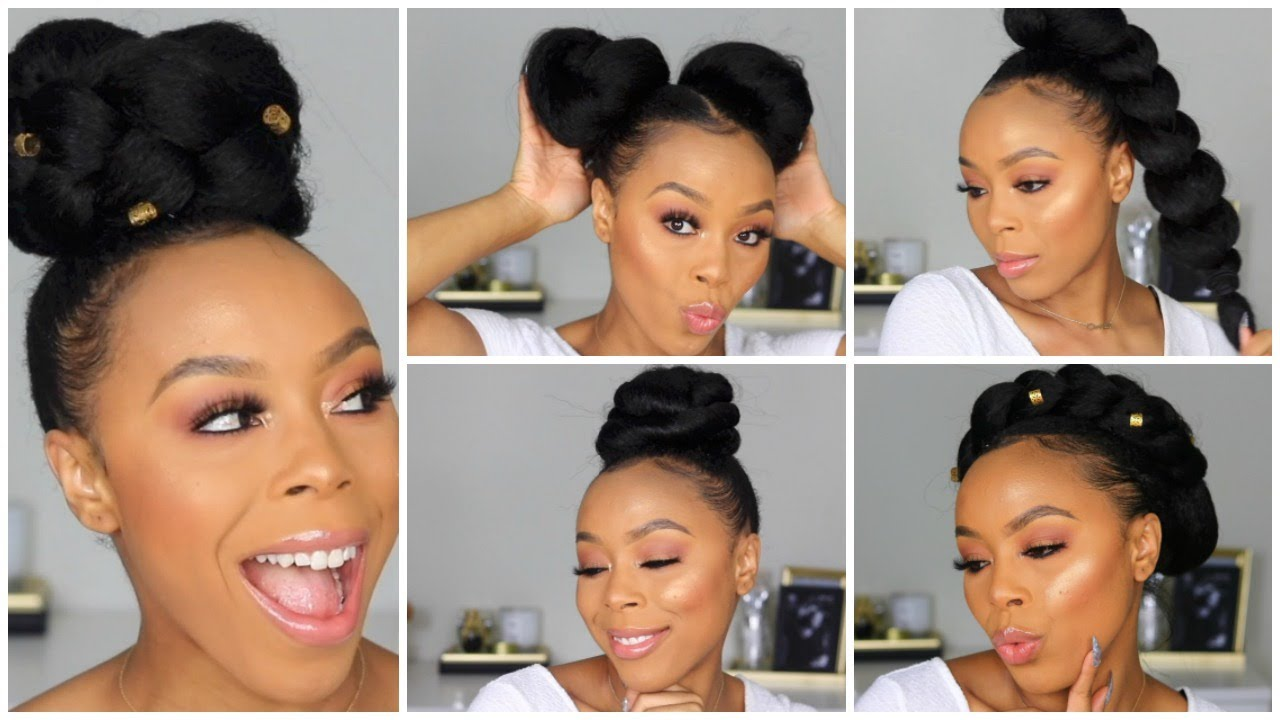 5 Easy Hairstyles Using Braiding Hair Back To School Hairstyles On Natural Hair Youtube