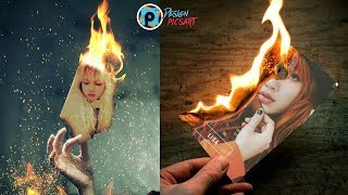 picsart tutorial How to put your photo on the paper burning 🔥🔥🔥