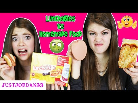 LUNCHABLES VS. REAL HOMEMADE FOOD -Switch up challenge- / JustJordan33