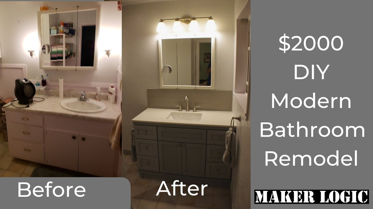 Diy Bathroom Remodel On A Budget Start To Finish Six Days In 20 Minutes Youtube