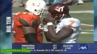 2000 Miami Hurricanes vs Virginia Tech Highlights
