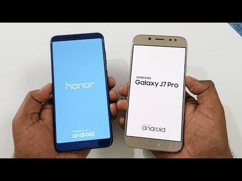 Honor V10 vs Samsung J7 Pro Speed Test Comparison !