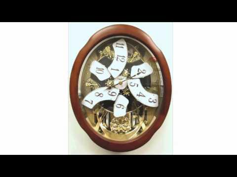 Rhythm Anthology Legend Magic Motion Musical Clock - Pecan-Finish Wood Frame