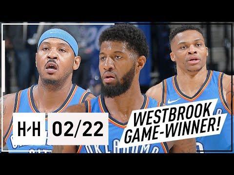 Russell Westbrook, Paul George & Carmelo Anthony Full Highlights vs Kings (2018.02.22) - GAME-WINNER
