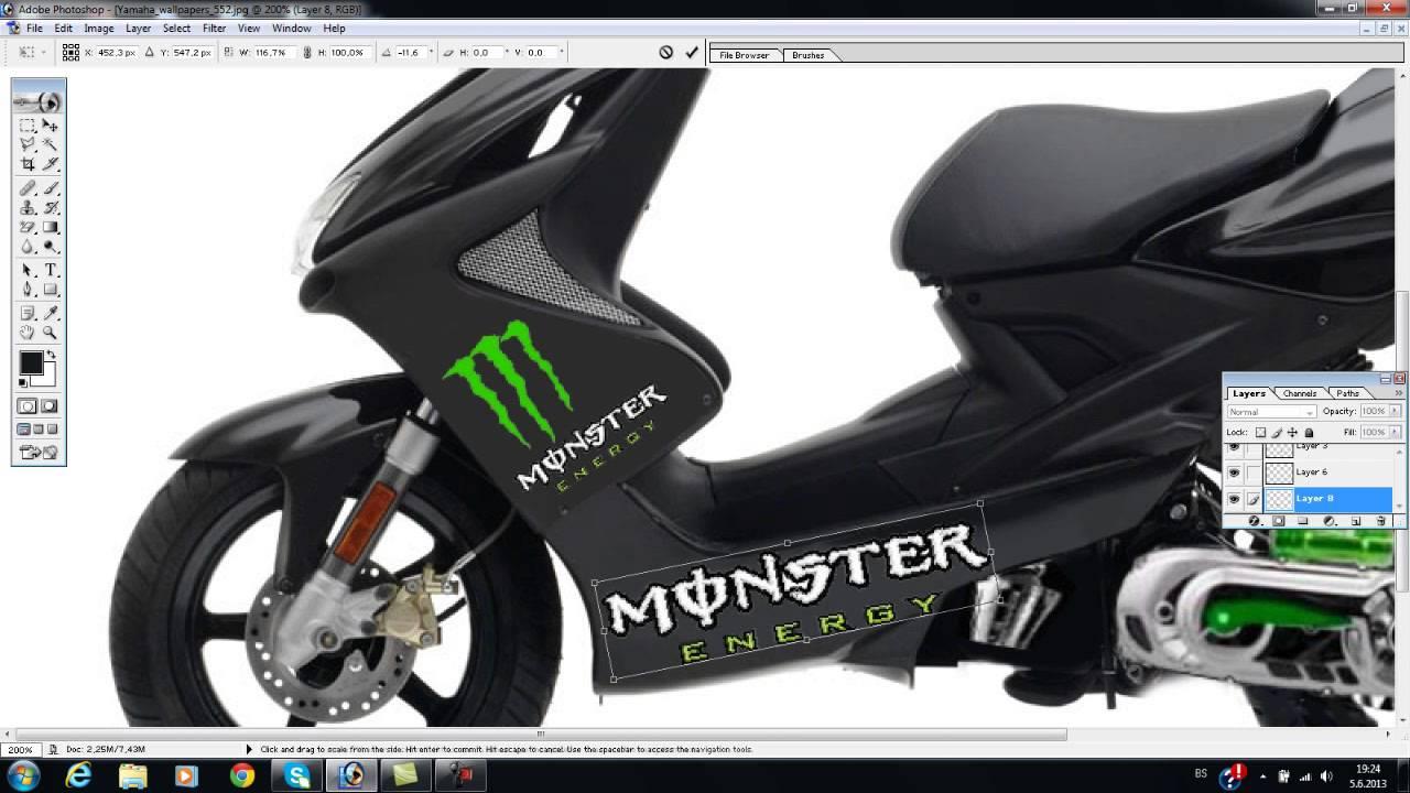 yamaha aerox monster energy photoshop tuning youtube. Black Bedroom Furniture Sets. Home Design Ideas