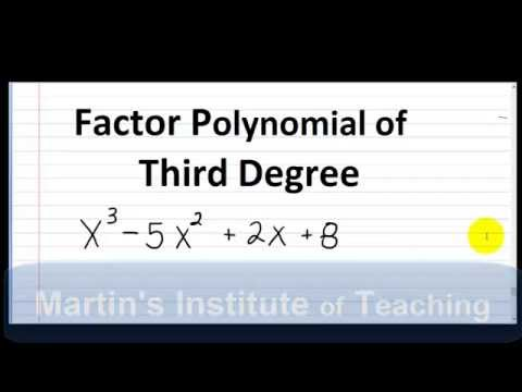 Factor A Third Degree Polynomial X3 5x2 2x 8 Youtube