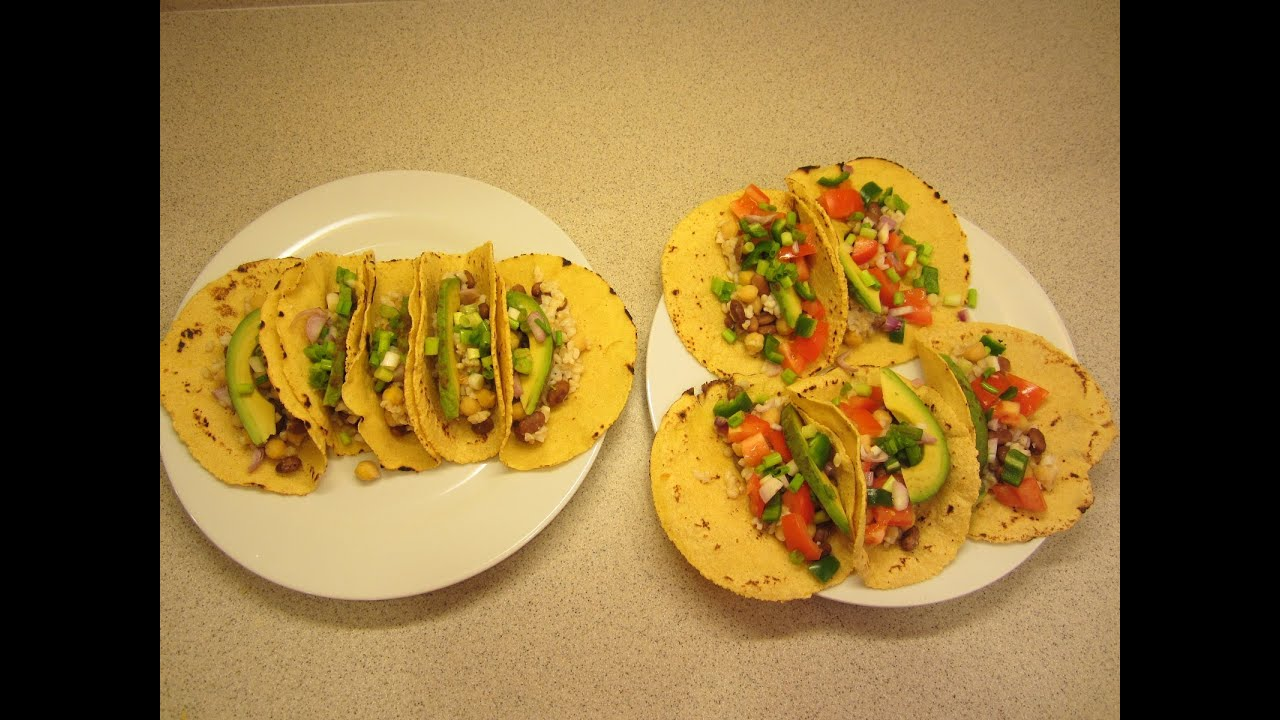 Homemade Vegan Corn Tortilla Shells Bean And Rice Taco's, Plus No Salt  Fritos