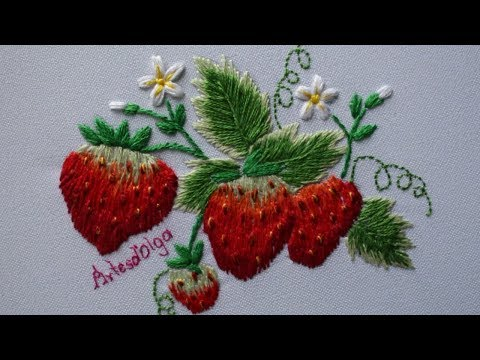 Hand Embroidery: Strawberry design  Fresas Bordadas a Mano  ArtesdOlga
