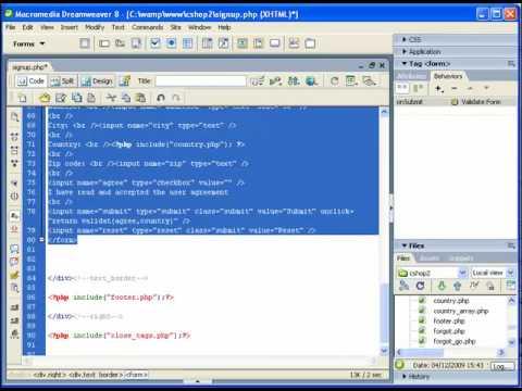 Form validation using Macromedia Dreamweaver and Java Script - YouTube