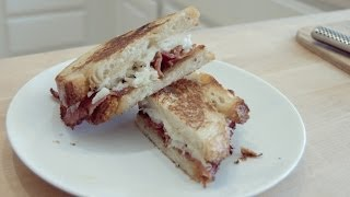 Spanish Inspired Grilled Cheese with Bacon I Bacon Fat Grilled Cheese Recipe!
