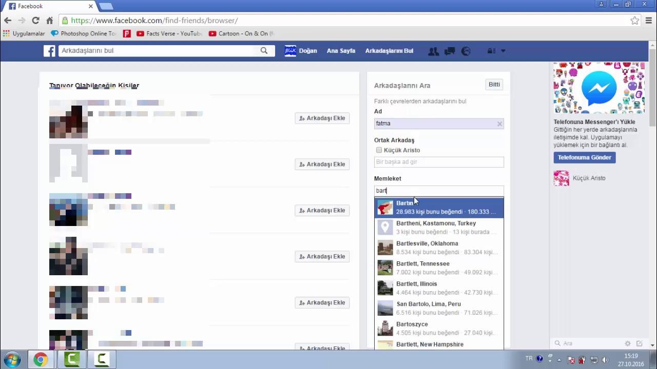 Facebook detaylı arkadaş arama