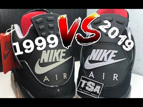 61f9a6216e60 2019 VS 1999 AIR JORDAN 4 IV BRED CEMENT RETRO SNEAKER COMPARISON REVIEW