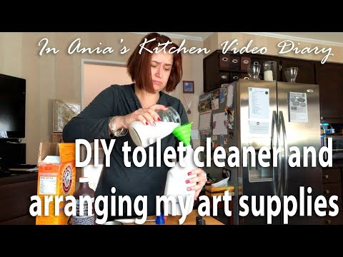 Ania's Video Diary - DIY toilet cleaner and arranging my art supplies - Daily Vlog