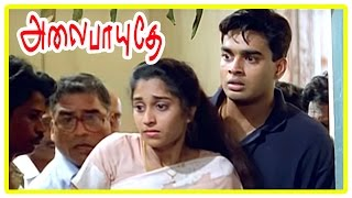 Alaipayuthe Scenes | Shalini's father passes away | Shalini and Madhavan fight | AR Rahman