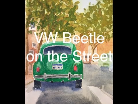 How to Paint a VW Beetle in Watercolour Watercolor Tutorial City Street Scene Road Green Car Auto