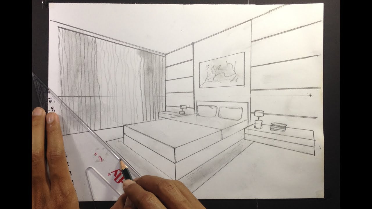 Simple bedroom drawing Bedroom Cabinet bedroom draw perspective Youtube How To Draw Simple Bedroom In Two Point Perspective 2 Youtube