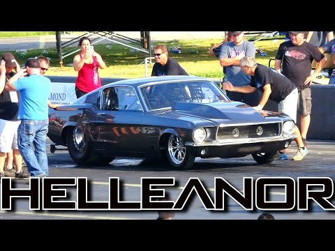 Twin Turbo 1967 Fastback Mustang Helleanor Drag Racing at OKC No Prep