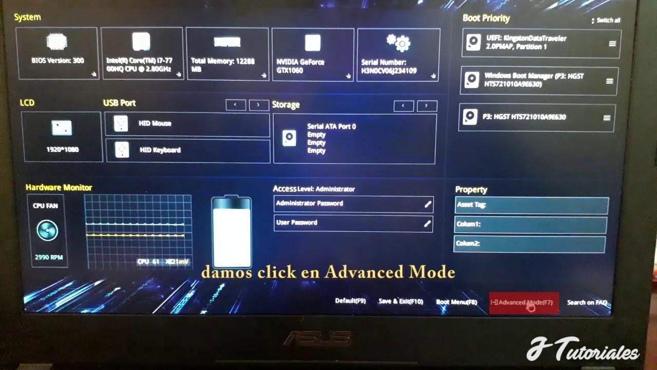 Configurar BIOS ASUS para arrancar desde USB/DVD/ Asus Rog Strix y otros  Modelos  Bios UEFI 