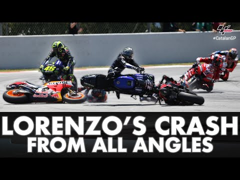 Lorenzo's crash in Catalunya from all angles